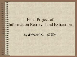Final Project of  Information Retrieval and Extraction