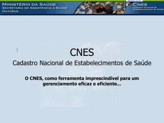 CNES  Cadastro Nacional de Estabelecimentos de Saúde