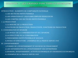 CHAPITRE 1: LES GRANDES FONCTIONS ECONOMIQUES (Modifié le  28/08/2014 06:19 )