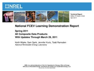 National FCEV Learning Demonstration Report  Spring 2011 All Composite Data Products