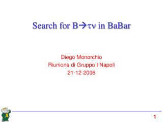 Search for B  tn  in BaBar
