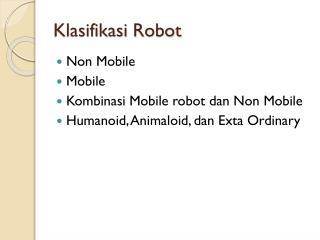 Klasifikasi  Robot