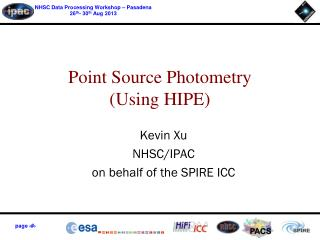 Point Source Photometry (Using HIPE)