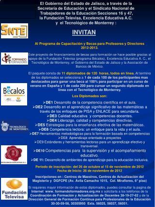 Al Programa de Capacitación y Becas para Profesores y Directores  2012-2013.