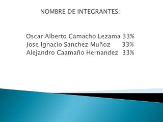 NOMBRE DE INTEGRANTES: Oscar Alberto Camacho Lezama 33% Jose  Ignacio  Sanchez  Muñoz      33%