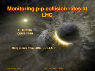 Monitoring p-p collision rates at LHC