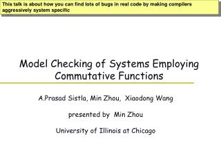 Model Checking of Systems Employing Commutative Functions