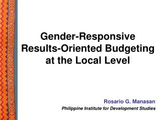 Gender-Responsive Results-Oriented Budgeting at the Local Level