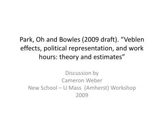 Discussion by Cameron Weber New School – U Mass  (Amherst) Workshop 2009
