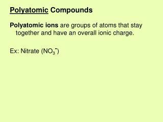 Polyatomic Compounds