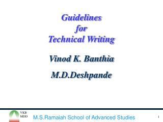 Guidelines  for Technical Writing