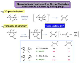 Stereoelectronic requirement for Ei-type Elimination: abstraction of  b  H–atom by leaving group