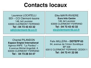 Contacts locaux