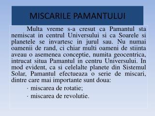 MISCARILE PAMANTULUI