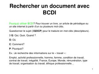 Rechercher un document avec BCDI