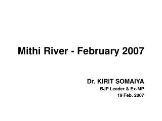 Mithi River - February 2007