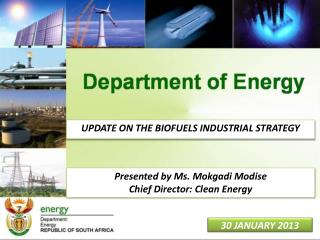 UPDATE ON THE BIOFUELS INDUSTRIAL STRATEGY