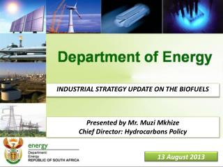 INDUSTRIAL STRATEGY UPDATE ON THE BIOFUELS