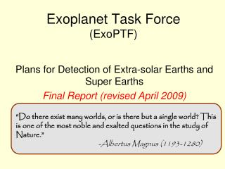 Exoplanet Task Force (ExoPTF)