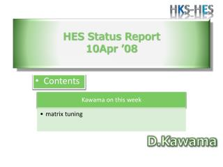 HES Status  Report 10Apr '08