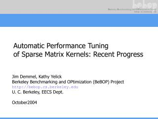 Automatic Performance Tuning of Sparse Matrix Kernels: Recent Progress