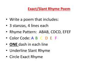 Exact/Slant Rhyme Poem