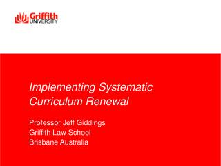 Implementing Systematic Curriculum Renewal