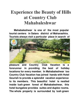 Experience the Beauty of Hills at Country Club Mahabaleshwar
