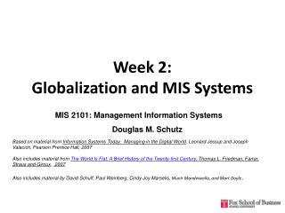 Week 2:  Globalization and MIS Systems