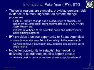 International Polar Year (IPY): STG