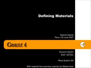 Defining Materials