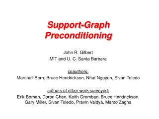 Support-Graph Preconditioning