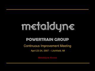 Continuous Improvement Meeting April 23-24, 2007 – Litchfield, MI Metaldyne Korea