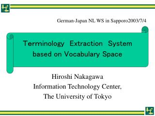 Term inology E xtraction System based on Vocabulary Space