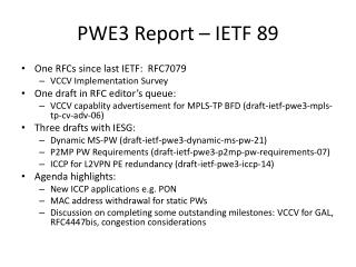 PWE3 Report – IETF 89
