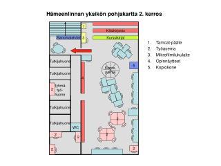 Hämeenlinnan yksikön pohjakartta 2. kerros