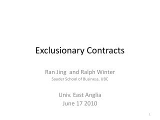 Exclusionary Contracts
