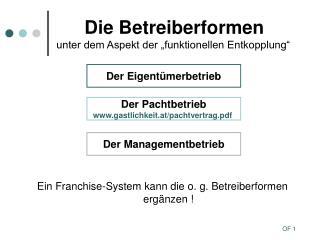 Die Betreiberformen unter dem Aspekt der �funktionellen Entkopplung�