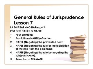 General Rules of Jurisprudence Lesson 7