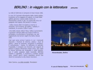 BERLINO : in viaggio con la letteratura     parte prima