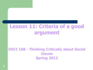 Lesson 11: Criteria of a good argument