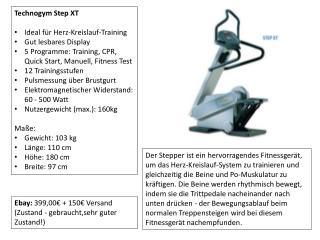 Technogym Step  XT Ideal für Herz-Kreislauf-Training Gut lesbares Display