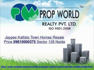Jaypee Kallisto Town Homes Resale Price 09810000375 Sector 1