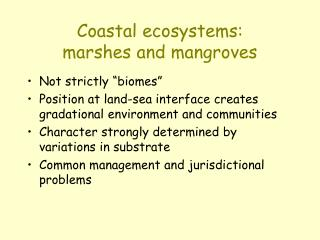 Coastal ecosystems:  marshes and mangroves