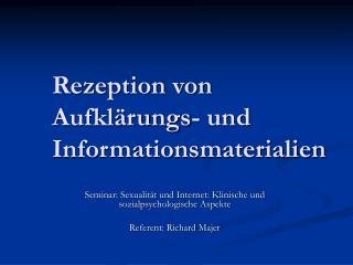 Rezeption von Aufklärungs- und Informationsmaterialien