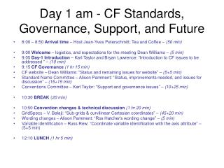 Day 1 am - CF Standards, Governance, Support, and Future