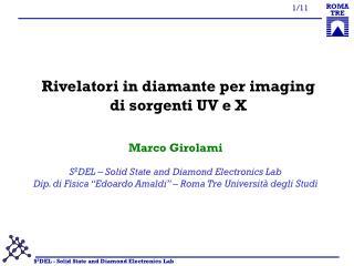 Rivelatori in diamante per imaging di sorgenti UV e X
