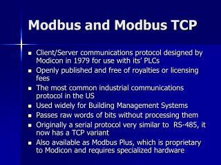 Modbus and Modbus TCP