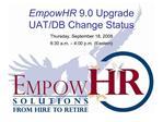 EmpowHR 9.0 Upgrade UAT