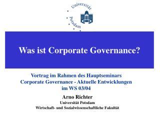 Arno Richter Universität Potsdam Wirtschaft- und Sozialwissenschaftliche Fakultät